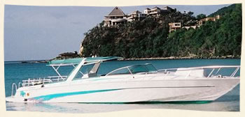 41 ft corsa power boat for wedding in the Virgin Islands.
