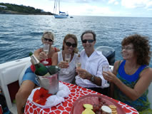 Celebrating wedding on powerboat in the USVI waters.